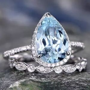 Jewelry - 5🌟💎 Stunning Aquamarine Pear Shaped Ring Set NEW